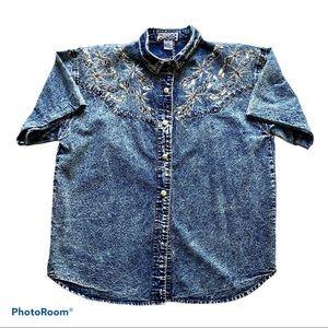 Vintage Stonewashed Denim Jean Shirt Womens Large